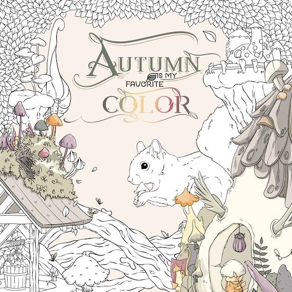 New Autumn Coloring book adult coloring book by Jen Katz katzundtatz fall  halloween mushrooms pumpkins kawaii colouring for kids and adults