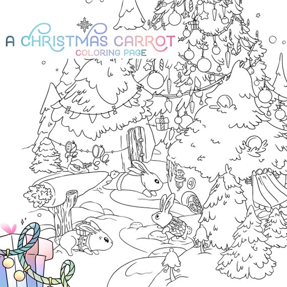 Winter Coloring Page / Cute Bunnies Christmas Adult Coloring Etsy