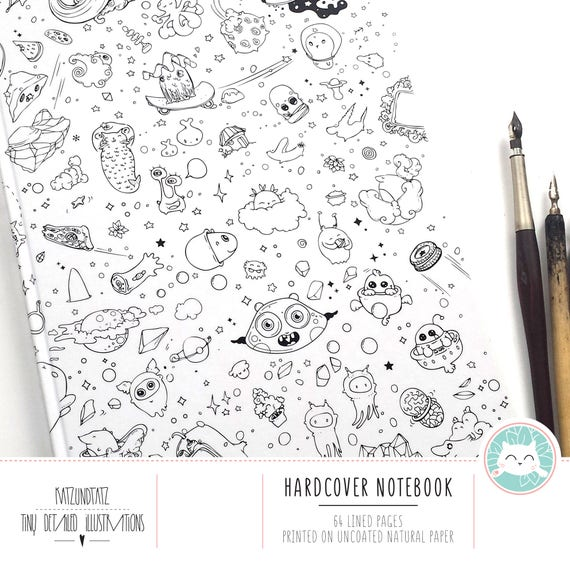 Space Doodles NOTEBOOK / Journal - Cute Kawaii Lined Diary Planner A4  Hardcover Happy Cats Crazy Doodle Day Bujo illustrated by Jen Katz