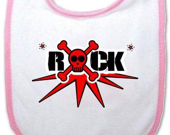 Rock baby bib - blue or pink