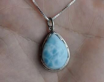 Larimar Pendant sterling silver necklace