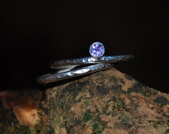Tanzanite sterling silver stackable rings