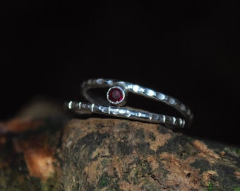 Lab Ruby sterling silver stackable rings