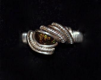 sz 7.5- Fire Agate Ring in Silver