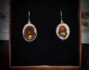 Fire Agate sterling silver earrings dangle drop earrings