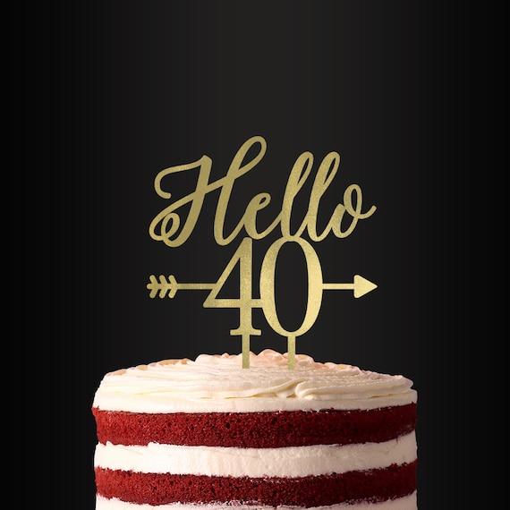 Cool Hello Forty Cake Topper Birthday Cake Topper Birthday Party Etsy Funny Birthday Cards Online Kookostrdamsfinfo