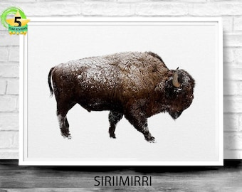 Buffalo Print, Bison Wall Art, Bison Print, Buffalo Wall Art, Nursery Print, Buffalo Printable, Animal Art, Bison Photo, American Art