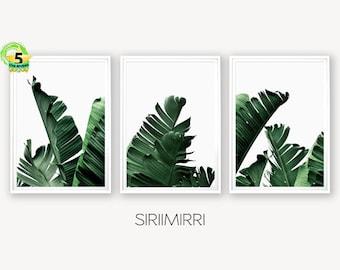 Set Of 3 Tropical Leaf Print Set Monstera Leaf Print Palm Tree Etsy