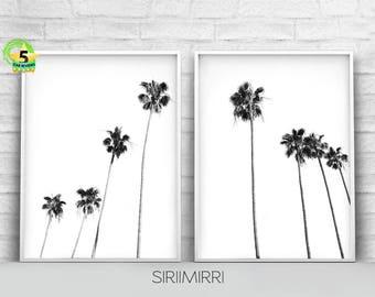 Black and White Palm Trees Print Set of 2, Palm Tree Photo Tropical Wall Art Print, California Hawaii Coastal Decor Beach Art Printable