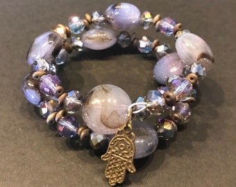 Purple Rock AB Faceted Beads with Superduo Beads and Bronze Henna Hand Charm Wrap Cuff