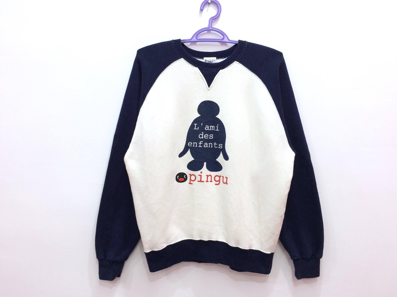 Rare!! Pingu Cartoon Spellout Pullover Jumper Sweatshirt
