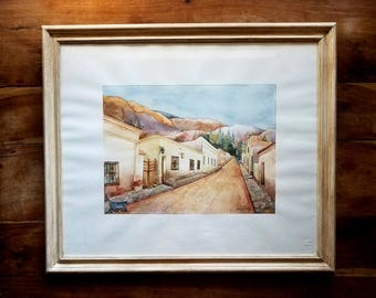 Watercolor Painting by Angelica Pascual, Cerro de Los Siete Colores, Argentina, Angelica Pascual Art, Argentinean Art, South American Art