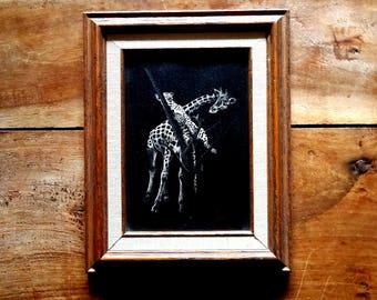 Rudy Droguett Giraffe and Leopard Scratchboard Etching, Rudy Droguett Art, Scratchboard Etching,  Modern Art, Droguett  Etching
