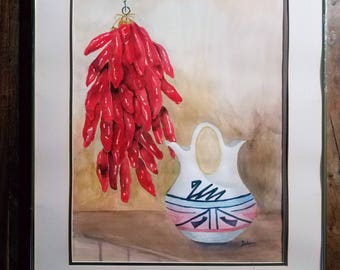Southwestern watercolor Painting by Dolores E. Sandy, Native American Art, Southwestern art, Native American Art,  Dolores Sandy Painting