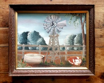 Oil on Canvas, Windmill, Lola Myers Artist, Wall Art, Cabin Art
