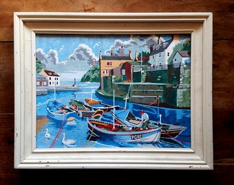 Fishing Village Painting, Mixed Media on Board, Modern Art, Framed Art,  Landscape Painting, Waterfront Art