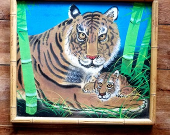 Vintage Chinese Silk Painting of Tiger and Cub, Asian Art, Chinese Art