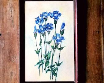 Oil On Canvas Flower Painting, Mid Century Art, Original Art, Flower Painting