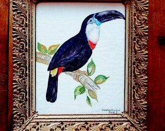 Toucan Painting by Carolyn Sanford Cox, Toucan painting, Toucan, Tropical Birds, Bird Painting, Modern art