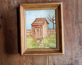 Vintage Oil on Canvas by Lynda Martin, Original Painting, Oil on Canvas, Outhouse, Cabin Art
