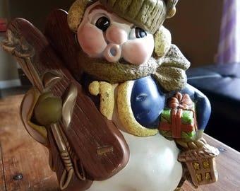 Vintage Atlantic Mold Ceramic Christmas Snowman, Atlantic Mold Ceramic Figurines, Vintage Christmas Decorations, Christmas Ornaments