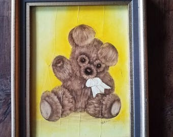 Vintage Teddy Bear Painting by Vilma, Original Painting, Vilma Artist, Teddy Bears
