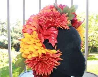 Orange And Yellow Autumn Flower Crown