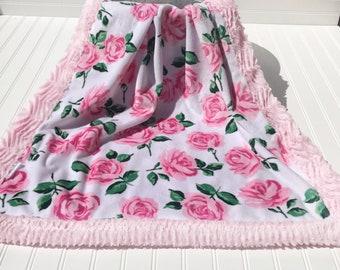 Spring baby, rose blanket, pink blanket, minky pink blanket, baby shower gift, baby girl blanket