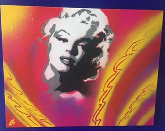 Spray paint stencil of Marilyn Monroe to canvas - Pink & Yellow