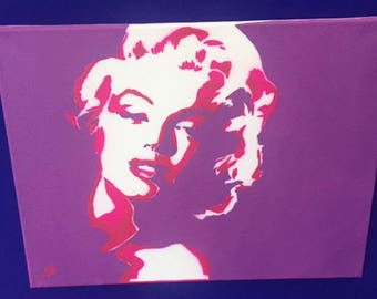 Spray painted stencil to canvas marilyn monrioe - Purple & Pink