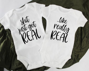 d57a67134b9c3 PAIR   Shit Just Got Real Twin Announcement Onesie®/Bodysuits / Funny Twin  Pregnancy Announcement / Baby Shirt/Twins/Expecting/Photo Prop