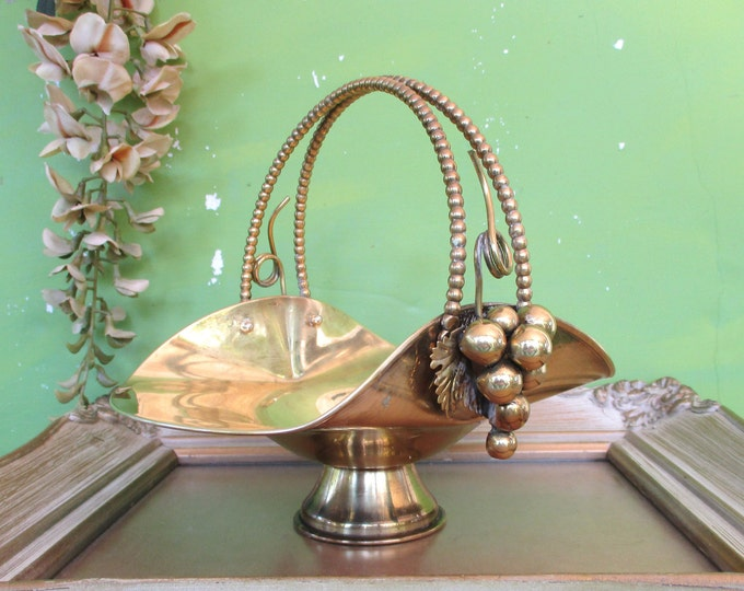Table Decor,7 Tall Brass Pedestal Bowl with Decorative Handle Vintage Brass Basket with Grape Accents