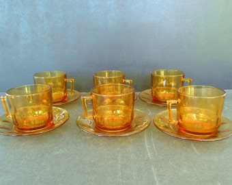 Items similar to Vintage set of 4 Arcoroc Amber Glass