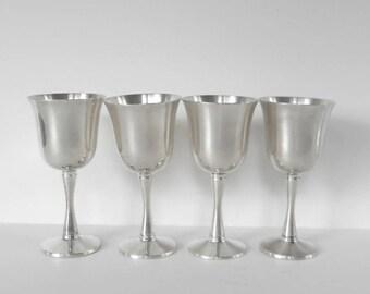 Silver Plate Goblets,Four Made in Salem Portugal Goblets, Silver Plate Wine Glasses,Vintage Silverplate Goblets