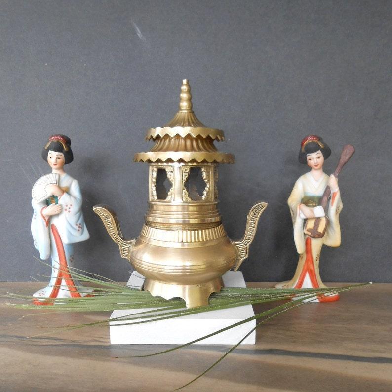 Vintage Brass Pedestal Incense Burner,Japanese Incense Burner with 6 Windows,Solid Brass Burner with 2 Decorative Handles7.5 Tall