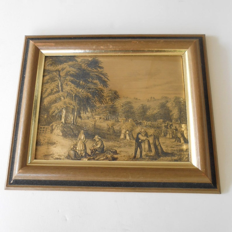 38be0b9e0fe2 Currier and Ives Gold Foil Framed Metallic Prints in Wooden