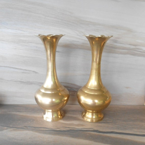 Two Brass Flower Vases Simple Design Brass Vasehigh Quality Etsy