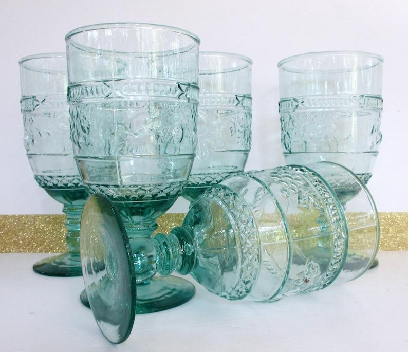 Vintage Glass Goblet,6.75 H Light Green Wine Goblet,5 Orchard Fruit Libby Glass,Elegant Drinking Glasses,