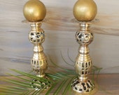 "Vintage Brass Candlesticks, Pair of Ornate  Candle Holders,Heavy,Pierce Brass Candlesticks, Adjustable Height Candlesticks/,9.5"" T/"