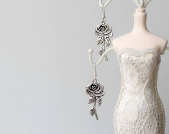 Silver rose earrings (Beauty and the beast inspired)