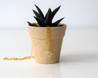 Golden lotus flower necklace