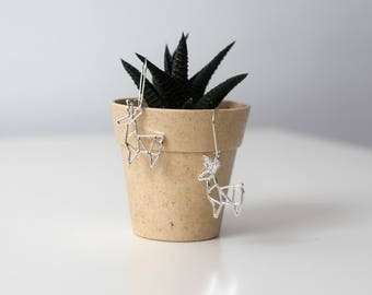 Silver origami deer earrings