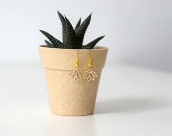 Minimalistic golden lotus flower earrings