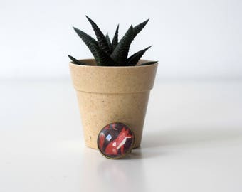 Unique bronze cameo ring with a fox