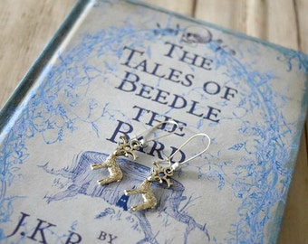 Silver deer earrings