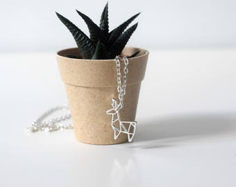 Silver origami deer necklace