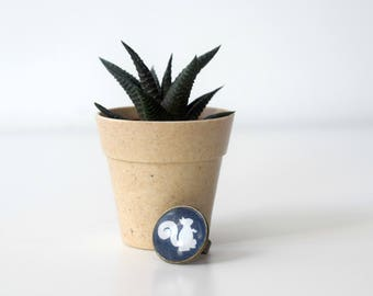 Unique bronze cameo ring with a squirrel