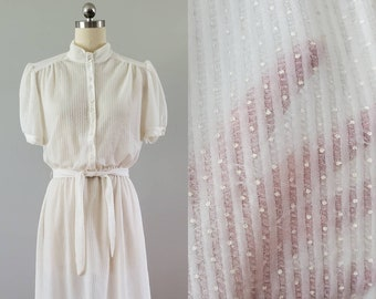 1970s does 1930s Sheer Dress in White with French Dot and Stripe Weave 70s Dresses 30s Dresses 70's Women's Vintage Size XL