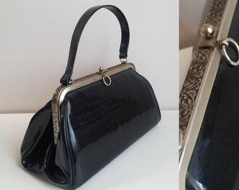 1950 s Garay Large Black Patent Leather Top Handle Purse Vintage  Accessories 50s Handbags 50 s Purse Pinup Accessories Rockabilly Style 635da937b5
