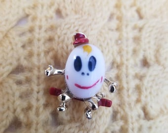 Vintage 1950's 50s Milk Glass Humpty Dumpty Hand Painted Brooch Pin Nursery Rhyme Mid-century Egg Man Kitsch Teacher Gift